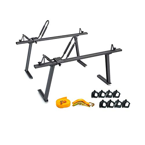 AA Products Model APX25 Aluminum Truck Rack with with 8 Non-Drilling C-Clamps and Kayak J-Racks with Ratchet Lashing Straps