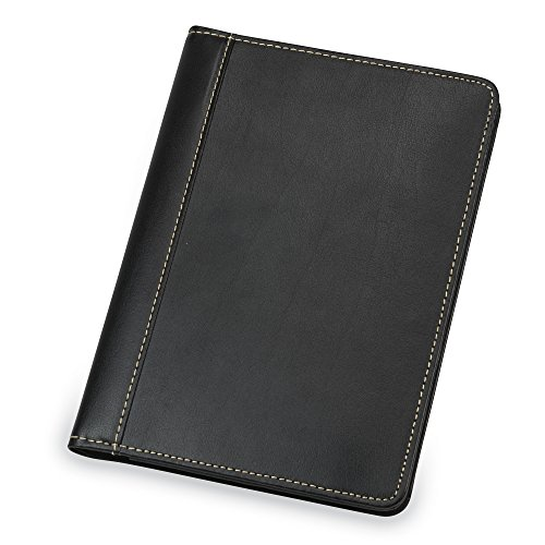 Samsill Contrast Stitch Leather Small Portfolio - Junior Portfolio Folder/Business Padfolio for Men & Women, 5 x 8 Mini Writing Pad, Black