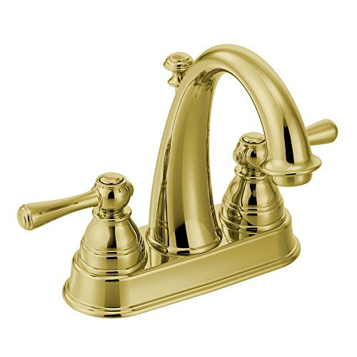 Moen 6121P Kingsley Two-Handle High-Arc Bathroom Centerset Faucet with Drain Assembly, Polished Brass (Chateau Polished Single Brass)
