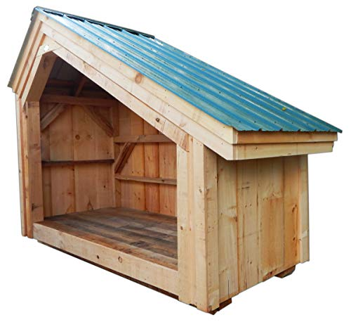 Timber Frame Post and Beam Woodbin Pre-Cut Kit - 4x8 Hearthstone - One Cord Firewood Storage Rack with Floor System