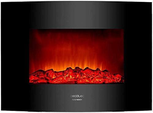 Cecotec Chemin/ée /électrique Ready Warm 2200 Curved Flames 20m2 T/él/écommande 2000W Panneau curve en verre templ/é 2 niveaux de puissance 22