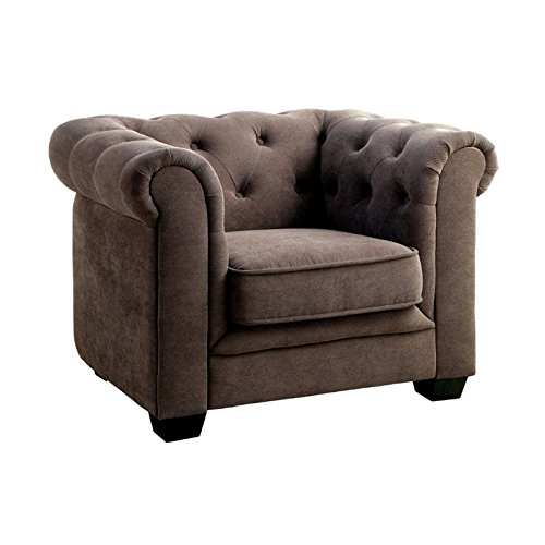 Furniture of America Chester Tufted Upholstered Chair in Gray