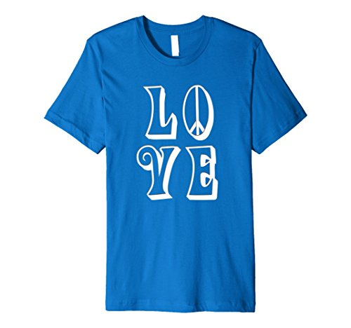 Groovy Love Peace Sign (Mens LOVE and Peace w/peace sign in Groovy Hippy font T-Shirt Medium Royal Blue)