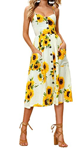 mmer Floral Print Spaghetti Strap Button Down Swing Midi Dress with Pockets (Large, Yellow) ()