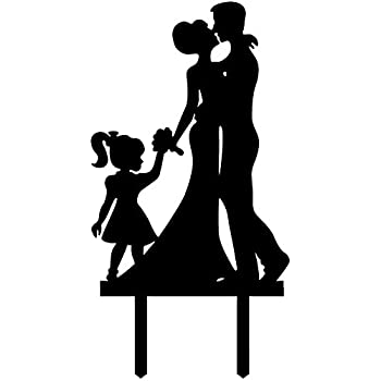 Ecape Acrylic Family Cake Toppers Wedding Groom Kiss And Hug Bride With Little Girl