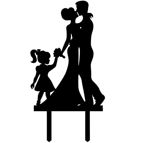 Ecape Acrylic Family Cake Toppers Wedding Cake Toppers Groom Kiss and Hug Bride with Little Girl Black Pack of 1