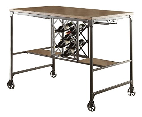 Walnut Wine Antique Rack (Homelegance Angstrom Rustic Wood and Metal Dining Table With Wine Rack, Walnut)