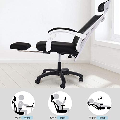 【US in Stock 7 Days Delivery】 Computer Chair Gaming Chair Racing Style Office Chair Adjustable Swivel Rocker Recliner High Back Ergonomic Computer Desk Chair with Footrest (1pc, Black) 41KHHCSfs0L