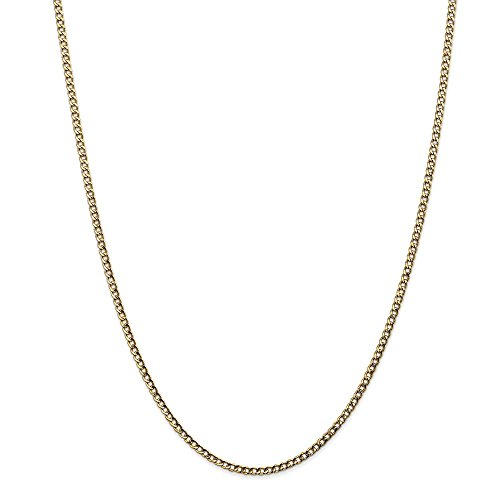 14k Yellow Gold 2.5mm Curb Cuban Link Chain Necklace 20 Inch Pendant Charm Fine Jewelry Gifts For Women For Her ()