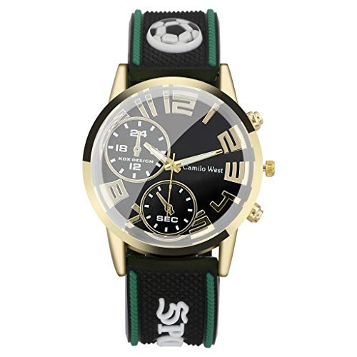 IslandseFashion Outdoor Sports Watch Silicone Strap Double Eyes Simple Dial Men's Watch (Green)
