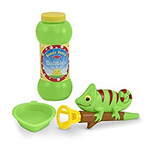 Melissa & Doug Sunny Patch Verdie Chameleon Bubble Blower With Wand, Dipping Tray, and Bubble Solution
