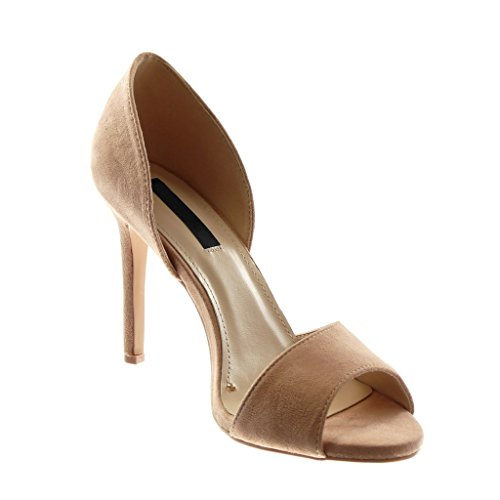 Aiguille Talon Angkorly Mode Peep Escarpin Slip Sandale Rose 10 Femme CM Haut Stiletto on Chaussure Toe Sq7CTH
