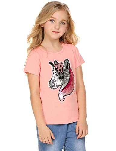 Girl's Short Sleeve Crewneck Tee Unicorn Flip Sequin T-Shirt Tops Pink