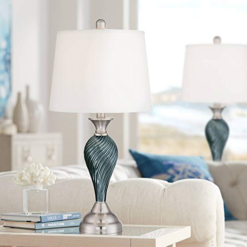 Arden Modern Table Lamps Set of 2 Green Blue Glass Twist Column Steel Base Empire Shade for Living Room Family Bedroom - Regency Hill (End Table Lamp Sets)