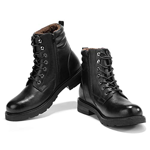 (Men's Motorcycle Snow Dress Boots - Lace Up Zip Plush TAFT Boots Military Tactical Work Combat Hiking Botas Invierno)