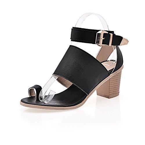 AllhqFashion Women's PU Solid Metal Open Toe Kitten-Heels Sandals Black IY6AfH