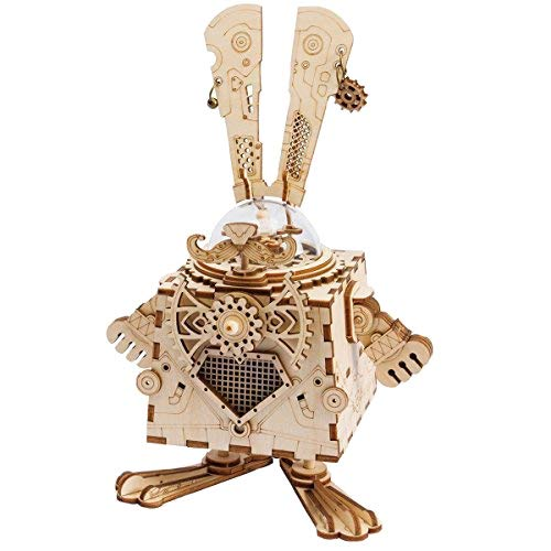ROBOTIME 3D Laser Cut Wooden Puzzle Music Box Kit DIY Robot Toy RoboBunny Craft Kit Best Birthday Gifts for Men & ()