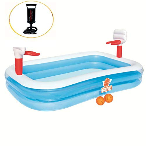 (Rectangle Inflatable Swim Center Basketball Stand Fun Baby Swimming Pool Toddler Garden Hand Pump Leisure Pool)