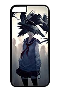 Anime Girl With Raven Slim Hard Cover for iPhone 6 Plus Case ( 5.5 inch ) PC Black Cases
