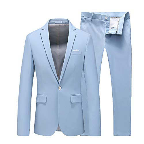 UNINUKOO Mens Slim Fit 2 Piece Single Breasted Jacket Party Prom Tuxedo SuitsUS Size 31 (Label Size M) Sky Blue