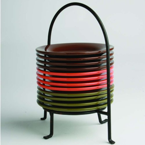 Fall Appetizer Caddy with 12 Plates