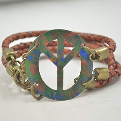 Hand-Painted Peace Sign Leather and Metal (Peace Sign Connector)