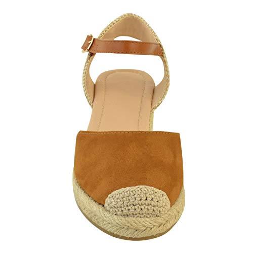 Tiras Tacón De Marrón Cuña Zapatos Nuevo Baja Fashion Artificial Talla Verano Thirsty Alpargatas Sandalias Por Ante Tostado Heelberry Mujer Eqn8g