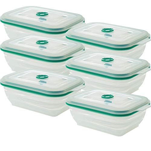 - Collapse-it Silicone Food Storage Containers - BPA Free Airtight Silicone Lids, 6 Piece Set of 3-Cup Collapsible Lunch Box Containers - Oven, Microwave, Freezer Safe (Teal Rectangle)
