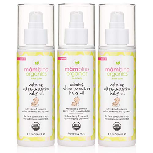 Mambino Organics Calming Ultra-Sensitive Baby Oil, Jojoba + Primrose, 5 Fluid Ounces (3 Pack)