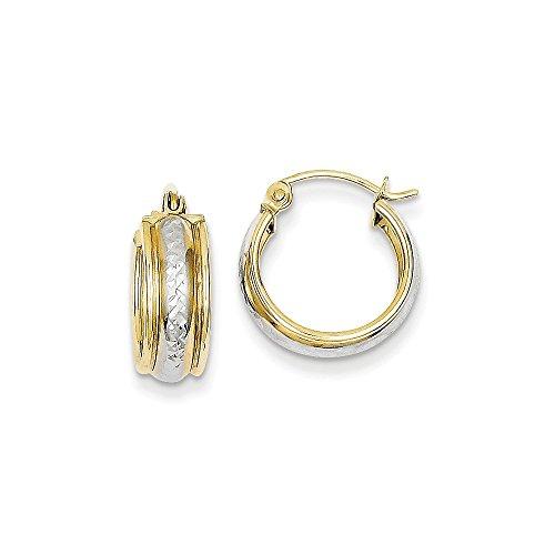 - 10K Two-Tone Gold Diamond-Cut Hoop Earrings