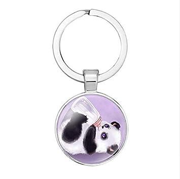 Llavero de oso panda, diseño de oso panda, llavero inicial ...