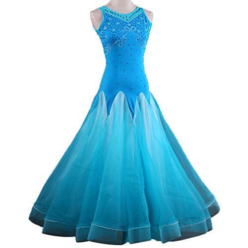 Blue Strass Gonna Valzer Xl Wqwlf m Ballo Donna Per Concorso Abito Girocollo Tango Di Da Maniche Costumi Abiti Moderno Senza 6qUSr6