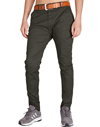 - ITALY MORN Men's Chino Fashion Flat Front Casual Pants 36 Dark Grey Green