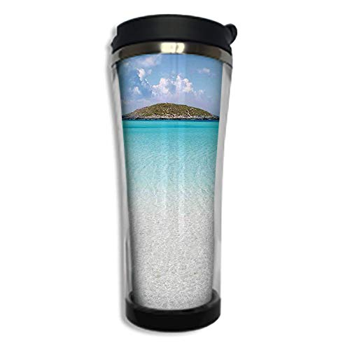 Travel Coffee Mug 3D Printed Portable Vacuum Cup,Insulated Tea Cup Water Bottle Tumblers for Drinking with Lid 8.45 OZ(250 ml)by,Ocean,Paradise Beach in Caribbean Water with a Small Island Landscape D (Caribbean Massager)