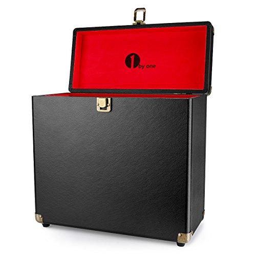 1byone Vinyl Record Storage Case for 30 Albums, Black