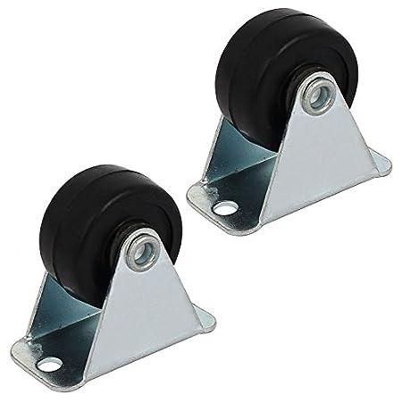 TOOGOO 1 pulgada de diametro Rueda unica de goma rigida no giratoria placa fija ruedas fijas 4pcs: Amazon.es: Hogar