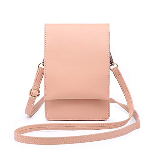 Shomico Women Small Crossbody Purse Cell Phone Pouch Shoulder Bag For 6 Inches (Kay Pink)
