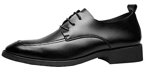 Santimon Robe Chaussures Pour Hommes Occasionnels Oxfords Moderne Classique Lace Up Chaussures Formelles En Cuir Noir
