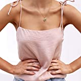 NUWFOR Fashion Women Pure Color Bandage Camisole Vest Sexy Tops Easy Blouse(Pink,US L Bust:33.8'')
