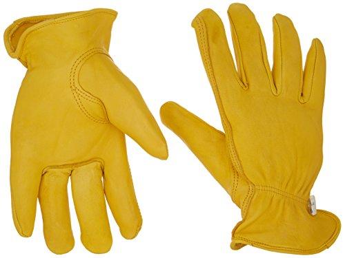 Westchester 85040 XL Grain Deerskin Leather Driver Gloves, Shirred Elastic Wrist, Self Hem, Gunn Cut, Keystone Thumb, 1-Pair, XL, Gold