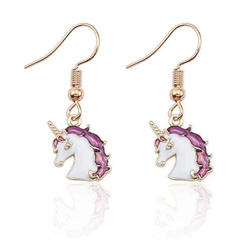 YOOE Cute Pegasus Enamel Unicorn Earrings. Girls Alloy Dripping Oil Ear Hook Cartoon Kids Gold Plated Earrings Birthday Gift -