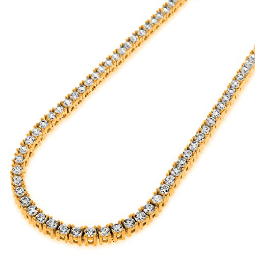 (NYC Sterling Unisex Gold Plated Sterling Silver 3mm Cubic Zirconia Tennis Necklace (18 Inch))