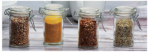 Circleware 67193 Optic Mini Round Glass Spice Jar with with Swing Top Hermetic Airtight Locking Lid, Set of 4 Kitchen Glassware Food Preserving Storage Containers for Coffee, Sugar, Tea, 2.3 oz, Clear ()