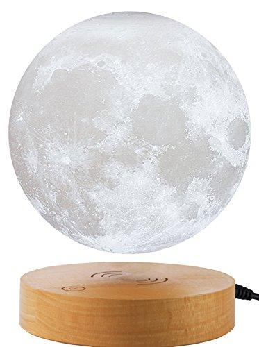 VGAzer Levitating Moon Lamp,Floating and Spinning in Air Freely with Wooden Base and 3D Printing LED Moon Light,for Unique Gifts,Room Decor,Night Light,Office Desk Tech Toys(White)