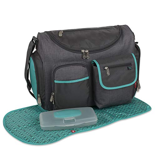 - Fisher Price Extra Large Grey Diaper Bag 3 Piece Set for Mom, Dad with Wide Opening, Wipe Dispenser Pocket, Bottle Holder, Changing Mat