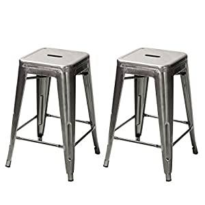 24  Gunmetal Glossy Metal Tolix-Style Chair Counter bar Stool Barstool Set of Two Metal Tolix  sc 1 st  Amazon.com & Amazon.com: Adeco Top Seller! 24