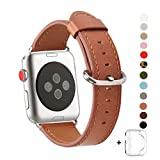 WFEAGL Compatible iWatch Band 38mm, Top Grain Leather Band Replacement Strap with Stainless Steel Clasp for iWatch Series 3,Series 2,Series 1,Sport, Edition (38mm Brown+Silver Buckle)