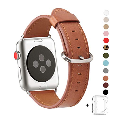 WFEAGL Compatible iWatch Band 38mm, Top Grain Leather Band Replacement Strap with Stainless Steel Clasp for iWatch Series 3,Series 2,Series 1,Sport, Edition (38mm Brown+Silver Buckle) by WFEAGL