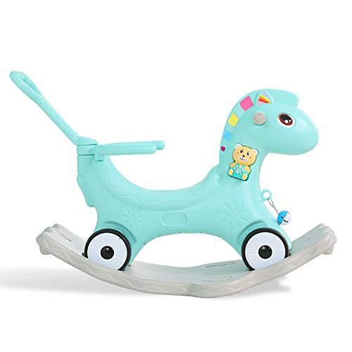 Child Rocking Horse, 2 in 1 Pink/Blue Dinosaur Rocker with Wheel for Kid 6-36 Months, Rocking Toy/Wooden Rocking Horse/Rocker/Animal Ride,Green