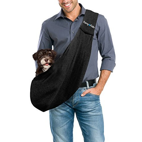 [FurryFido Reversible Pet Sling Carrier for Cats Dogs up to 13+ lbs, Black] (Furry Puppy)